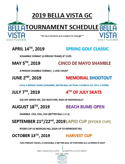 2019 Tournament Schedule